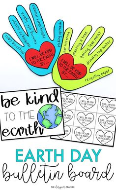 Create a cute Earth Day Bulletin Board while encouraging students to reflect on ways they can be kind to the earth. This bulletin board kit makes the perfect low prep Earth Day activity. #teaching #bulletinboard #earthday