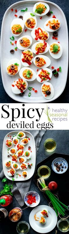 Spicy Deviled Eggs With Sriracha. Top Them With Assorted Toppings To Make An Easy And Festive Appetizer For Your Holiday Party. Just 45 Calories Each And 0 Grams Carbs. Via Healthyseasonal Healthy Deviled Eggs, Sriracha Deviled Eggs, Devilled Eggs Recipe Best, Avocado Deviled Eggs, Deviled Eggs Recipe, Sriracha Recipes, Spicy Recipes, Egg Recipes, Healthy Recipes