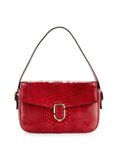 J+Marc+Aged+Python+Shoulder+Bag,+Crimson+by+Marc+Jacobs+at+Neiman+Marcus.