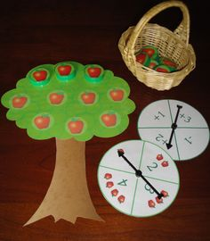 Apple Tree Count: apple-themed math game for preschool and kindergarten. This could be a good math game for our apple week! Preschool Apple Theme, Apple Activities, Fall Preschool, Preschool Themes, Math Classroom, Kindergarten Math, Math Activities, Preschool Activities, Maths Resources