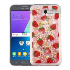 Quicksand Glitter Samsung Galaxy J3 Emerge Case - Strawberry/Pink