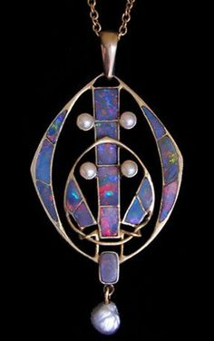 stunning Archibald Knox opal pendant. Knox  was a Manx art nouveau designer of Scottish descent.