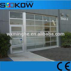 Aluminium Garage Door With Pedestrian Door Transparent Glass Panel Glass Garage Door Garage Doors Modern Garage Doors