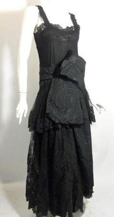 Black Moire Silk Dress with Obi Detail circa 1920s