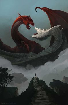 "Val André-Terramorsi - ""Vortigern's fate"" An illustration I wanted to do since almost two years now : young Merlin watching the epic, prophetic fight between the red and the white dragon that were sleeping under the hill… Mythical Creatures Art, Mythological Creatures, Magical Creatures, Dragon Fight, Skyrim Dragon, Dragon Warrior, Dragon King, Cool Dragons, Dragon Artwork"