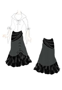 Gypsy stripes skirt. Would look good with a tribal belly dance costume. Plus gothic flamenco :)