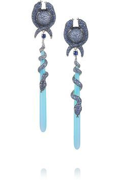 Lydia Courteille - Handmade One of a kind 18-karat white gold Sapphires, total weight: 11.36-carats; black diamonds, total weight: 0.35-carats; blue agate drop 18-karat blackened gold setting Post and clasp fastening for pierced ears.