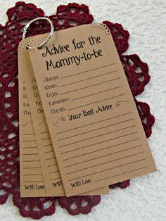 Set of 12 Child Bathe Recommendation Tags Playing cards for the Mommy to be - Recommendation for Mommy-to-be Kraft  Classic Rustic