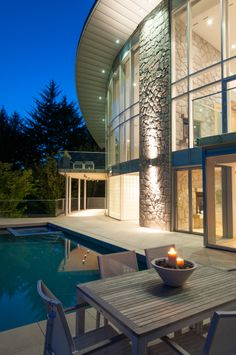 Poolside at an ultra modern house in West Vancouver #blurrdMEDIA #architecture #photography