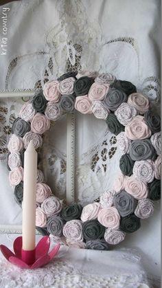 """Rózsakoszorú - """"Színharmónia"""", Mindenmás, Baba-mama-gyerek, Otthon, lakberendezés, Dekoráció, Meska Baba, Floral Wreath, Wreaths, Country, Home Decor, Floral Crown, Decoration Home, Door Wreaths, Rural Area"""