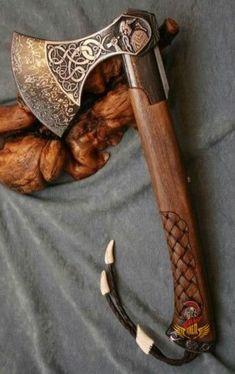 Viking Axe, Viking Warrior, Vikings, Swords And Daggers, Knives And Swords, Wood Axe, Forging Knives, Axe Handle, Cool Swords