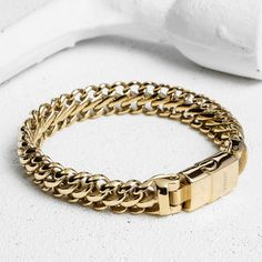 """Taking its name for the ancient word for """"armour,"""" the Maile is designed to resemble the protective chainmail worn by European warriors throughout history. This thick stainless steel bracelet is weigh Mens Gold Bracelets, Mens Gold Jewelry, Clean Gold Jewelry, Women Jewelry, Diamond Bracelets, Link Bracelets, Silver Jewelry, Silver Rings, Gold Chains For Men"""