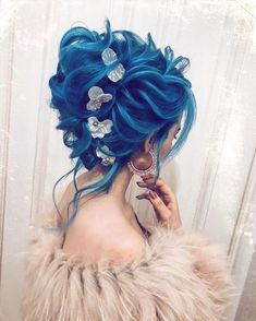 Wedding Hairstyles 30 Stunning Colored Wedding Hairstyles - Now, colored hairstyles for wedding days are a thing. Here are stunning colored wedding hairstyles ideas that will bring every bride to another level of glamour! Hairstyle For Wedding Day, Wedding Hairstyles, Hair Wedding, Blue Wedding, Wedding Shoes, Bridal Hair, Summer Wedding, Wedding Dresses, Beautiful Hair Color