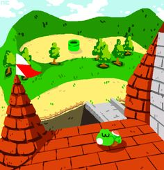 Yoshi at the top of Princess Peach's Castle. Mario Video Game, Super Mario Games, Super Mario Art, Video Game Art, Super Mario World, V Games, Cute Games, Mario And Luigi, Mario Bros