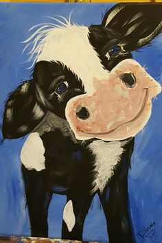 Cow hand painted by Diana Roller #rusticcanvaspainting