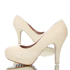 Women's Real Leather Stiletto Heel Closed Toe Platform Pumps With Imitation Pearl (047054773)