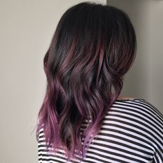 35 Rich And Sultry Dark Brown Hair Color Ideas - Part 8 Hair Color And Cut, Ombre Hair Color, Brown Hair Colors, Brown Hair Purple Ends, Colored Hair Ends, Subtle Purple Hair, Short Purple Hair, Purple Tips, Burgundy Hair