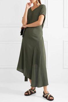 Marni - Asymmetric Draped Crepe De Chine Dress - Green - IT48