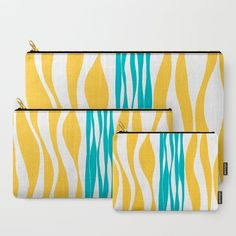 Ebb and Flow - Turquoise & Yellow Carry-All Pouch by laec | Society6
