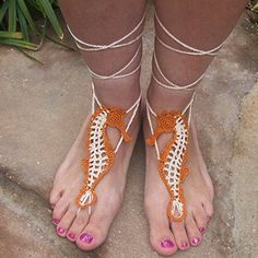 Tan And White Seahorse Hand-Knitted Cotton Crochet Barefoot Sandal,Sexy Summer Sandal Yoga Anklet, Bellydance, Beach Party,Gift For Her One Size