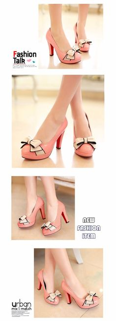 Spring Summer Fashion Women Pumps Round Toe Stiletto Heels with Bow-knot Shoes