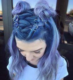 purple lavender hair with hair rings