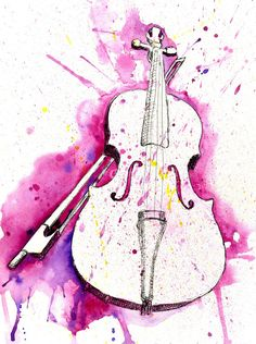 Watercolor Violin painting-DS