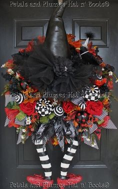 "Halloween Wreath-""WiCkEd WiTcH w/her Ruby Red Slippers"""