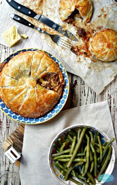 Steak and Cheese Pie with green beans