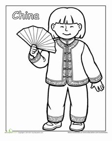 Multicultural Coloring: China Worksheet Dance Coloring Pages, Colouring Pages, Coloring Sheets, Coloring Pages For Kids, Coloring Books, Coloring Worksheets, Multicultural Activities, Around The World Theme, Cultural Dance