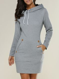 Long Sleeve Mini Sheath Hoodie Dress