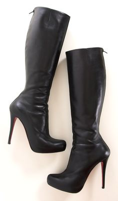 Christian Louboutin Black Babel Boots. If you invest in one thing this fall make it these seamless and sleek Christian Louboutin boots - they're fabulous with everything. Black leather knee high boots with an approximate 100mm/ 4 inch heel and a 15mm/ 0.5 inch concealed platform. Christian Louboutin boots have an almond toe, a zip fastening along back and a signature red sole. Italian sizing. This style is tight in the calf area and you may wish to take the next half size up for a more…