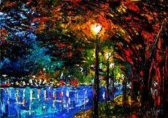 Cityscape landscape urban lights night oil painting by Debra Hurd, painting by artist Debra Hurd
