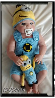 Minion Baby Set,Minion Costume,Minion Photo Prop,Newborn Photo prop,Baby Shower Gift,Baby Halloween costume,infant toy,crochet toys,Gift by ICOStyle on Etsy