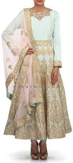 Buy Online from the link below. We ship worldwide (Free Shipping over US$100). Product SKU - 305502.Product Link - http://www.kalkifashion.com/ice-blue-anarkali-suit-adorn-in-zari-and-sequin-embroidery-only-on-kalki.html