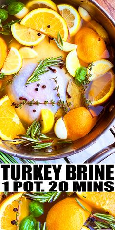 TURKEY BRINE RECIPE- The best quick and easy Thanksgiving brine solution, homemade with simple ingredients in one pot on stovetop in 20 minutes. Loaded with apple cider, brown sugar, fresh herbs, garlic, citrus (lemon and oranges). This is guaranteed to give you a super moist and flavorful Thanksgiving turkey every single time! Great for roast turkey, smoked turkey, deep fried turkey. From OnePotRecipes.com Simple Turkey Brine, Smoked Turkey Brine, Roasted Turkey, Thanksgiving Turkey, Thanksgiving Recipes, Fall Recipes, Holiday Recipes, Brine Solution, Brine Recipe