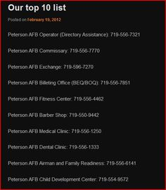 peterson afb phone directory