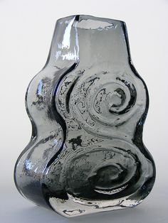 "Whitefriars ""cello"" willow cased glass vase. pattern number 9675. Designed by Geoffrey Baxter"