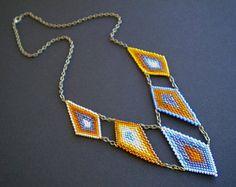 Trade Winds Necklace - Geometric brick stitch beadwork