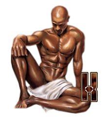 Alfabeto hombre semi desnudo meditando. | Oh my Alfabetos!