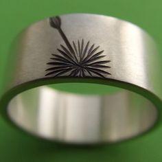 etched dandelion ring