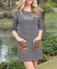 Stripe Dress with Bauble Bar statement bib necklace