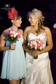 My bridesmaids where teal and coral colour combo i loved it!