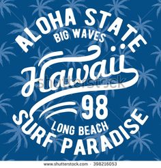 Hawaii typography with floral illustration for t-shirt print , vector illustration.