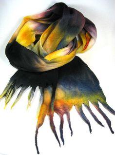 Cobweb Felted Merino Wool Scarf by yarnwench on Etsy, $60.00