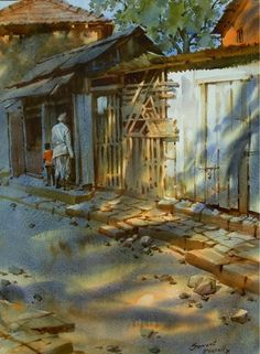 Kai Fine Art is an art website, shows painting and illustration works all over the world. Watercolor Architecture, Watercolor Landscape Paintings, Watercolor Pictures, Watercolor Artwork, Watercolor Artists, Indian Artist, Urban Sketching, Indian Paintings, Figure Painting