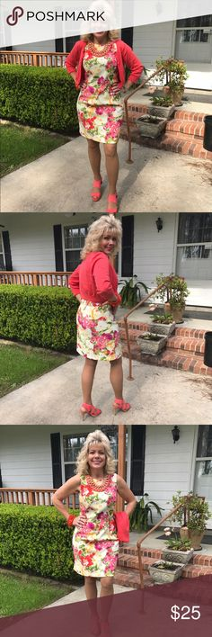 Kim Rogers floral dress. Kim Rogers floral sleeveless dress and coral sweater. Can be sold together or separate. Dress 97/3 polyester spandex machine wash. Dress and sweater size 8. Sweater 100% cotton. Kim Rogers Dresses Midi