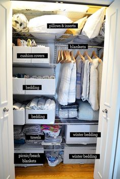 home organisation linen closet organization ideas, home organization, how to store blankets Wardrobe Organisation, Linen Closet Organization, Home Organization Hacks, Bathroom Organization, Clutter Organization, Organizing Ideas, Organization Ideas For Bedrooms, Organising, Airing Cupboard Organisation