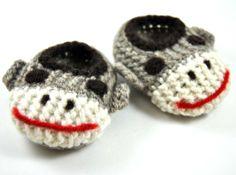 Wol Baby Sock Monkey Slippers wol Baby Slippers door HandKnitHugs
