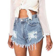 186a74911fa Fashion Distressed Ripped Denim Shorts Women Sexy High Waist Blue Jeans  Shorts Summer Plus Size Ladies Tassel Fitness Shorts